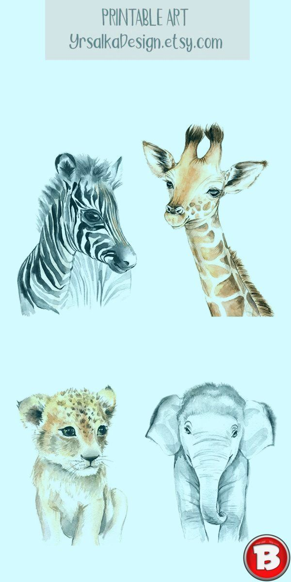 Baby Tier Kinderzimmer Wand Kunst Safari Animal Prints Druckbare