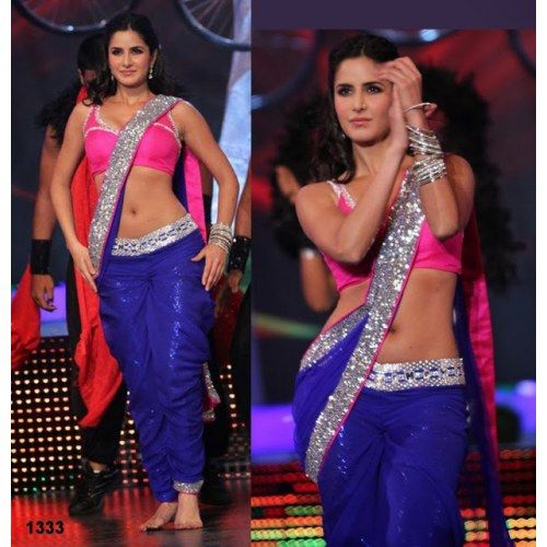 BOLLYWOOD ACTRESS KATRINA KAIF HOT BLUE SAREE AT NDTV EVENT