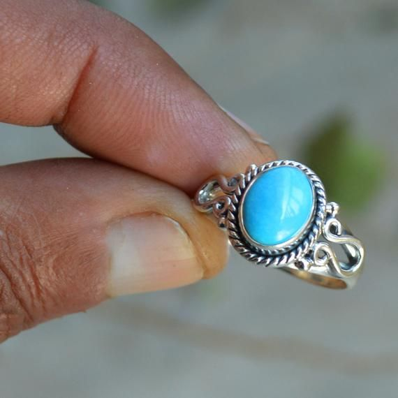 Natural Turquoise Ring Solid Sterling Silver Ring Silver Ring Turquoise ring ,92.5/% Silver Ring All sizes available