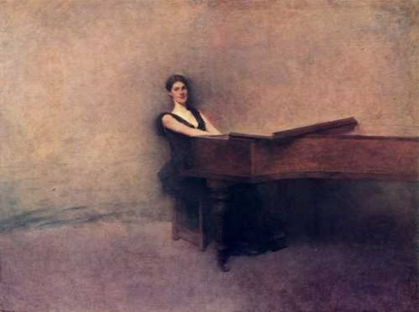 """The Piano"",Thomas Wilmer Dewing.  Tonalism as a style resisted the dogma of modernism and abstraction in art, although the political success of modernism eventually succeeded in branding tonalism as an outdated mode of artistic expression in popular culture."