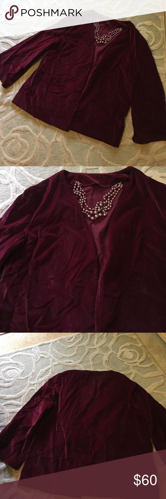 🌷VINTAGE HOME SEWN🌷burgundy velvet blazer 🌷VINTAGE HOME SEWN🌷burgundy quality vintage velvet unlined blazer.  The 3/4 length sleeves widen slightly almost to a bell type sleeve.  Open front & roomy, looser fit.  So many accessorizing possibilities with this rich color & texture.  Matching full maxi skirt available listed separately. Jackets & Coats Blazers