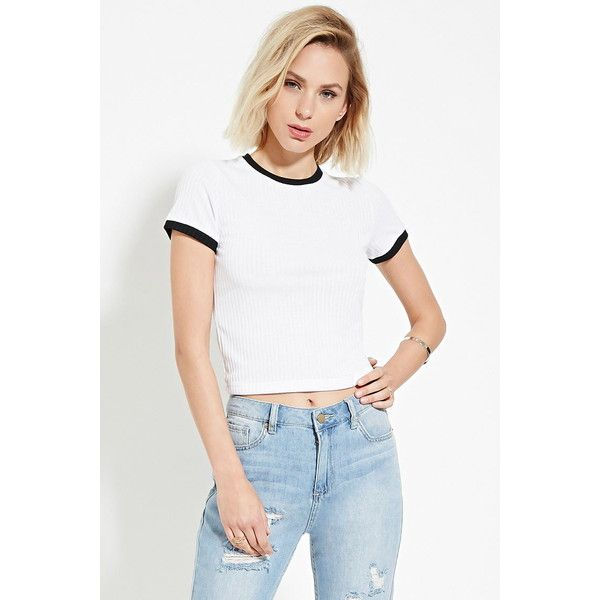 1e3c71408c15 Forever 21 Women s Cropped Ringer Tee ( 11) ❤ liked on Polyvore featuring  tops