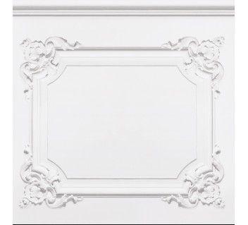 Papier peint boiseries louis xv blanc gris wallpaper french trompe l 39 o - Papier peint trompe l oeil boiserie ...
