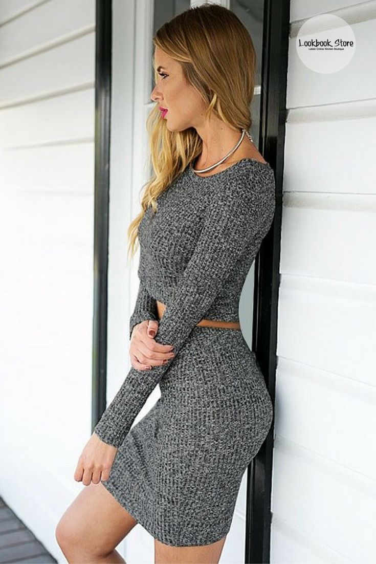 For that classy, sassy look, just pair this grey knitted skirt co-ord set with sky-high strappy heels. Check it here.