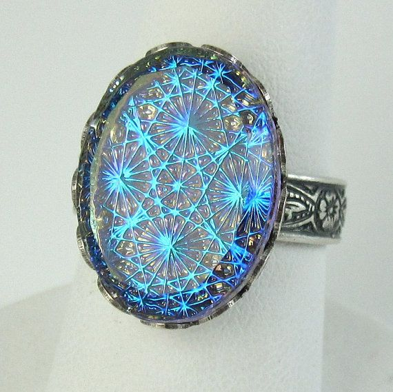 Blue Opal Ring Adjustable Gothic Starburst Glass Stone with Silver Ring Band Cocktail Ring