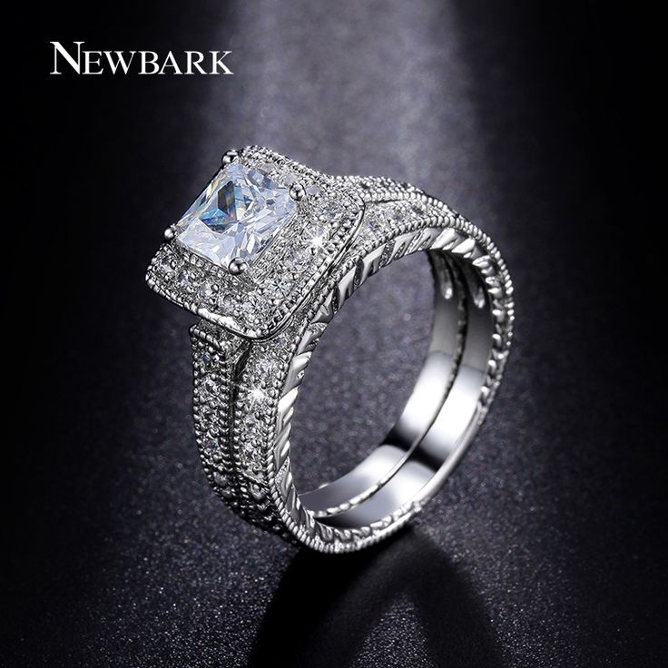 NEWBARK Rings Set for Women Platinum Plated Big 1.5ct Princess Cut CZ Engagement Ring Wedding Jewelry Anillos Casamento Anel