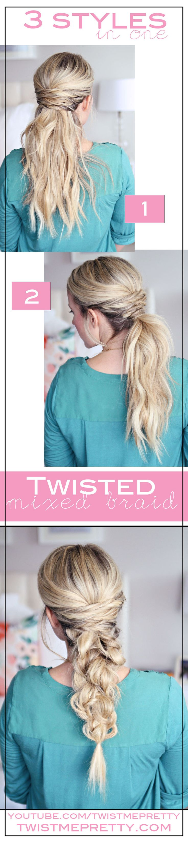 By learning one hairstyle, you've essentially learned two more along the way. And who doesn't love learning extra hairstyles?! Tutorial by Twist Me Pretty!