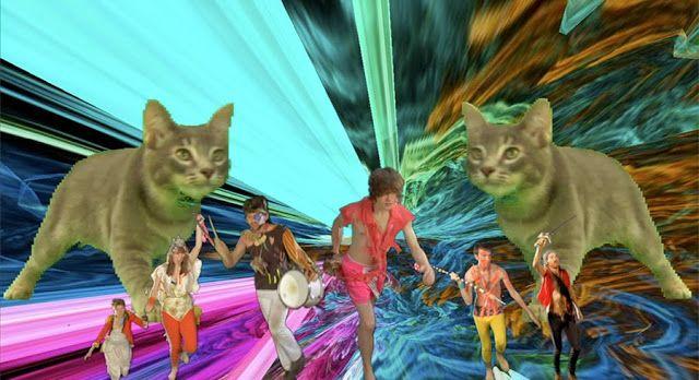 Gatos y fondos raros alternan en partes del video clip