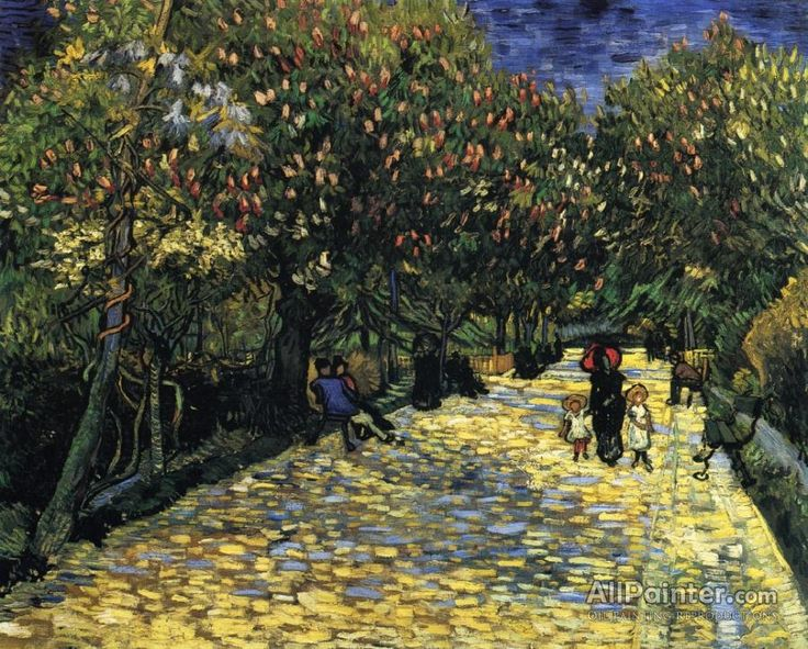 Vincent Van Gogh Avenue With Flowering Chestnut Trees oil painting reproductions for sale