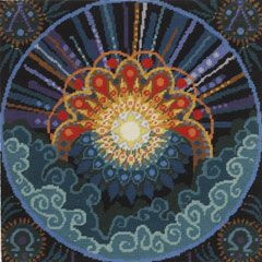 """""""The Creation"""" needlepoint series by Alex Beattie begins with """"Day One: Light""""."""