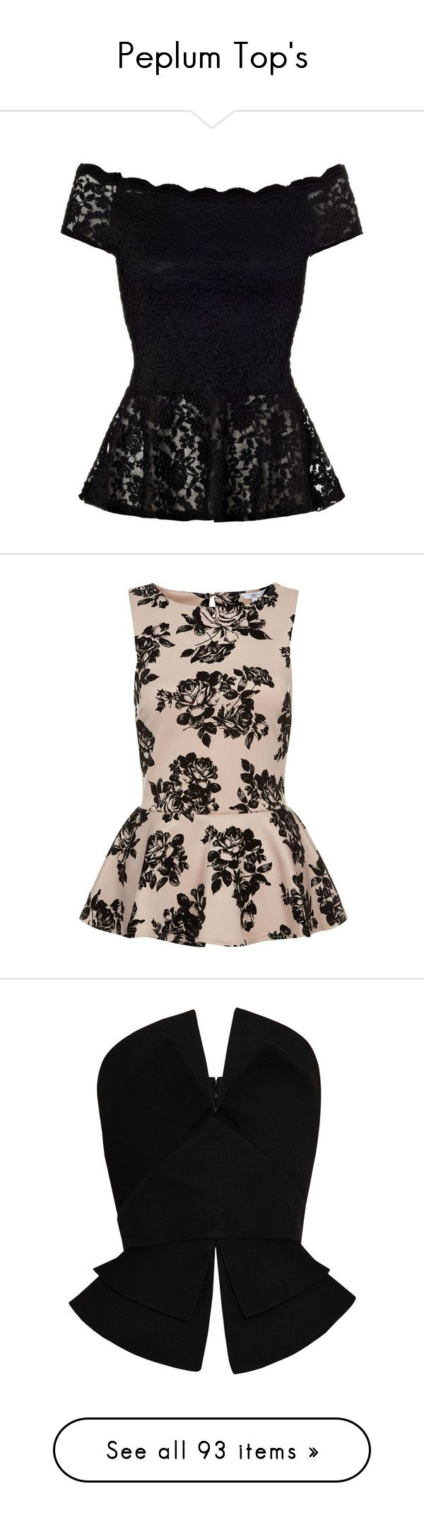 """""""Peplum Top's"""" by elenaloveugg ❤ liked on Polyvore featuring tops, blouses, shirts, blusas, lace blouse, peplum blouse, off the shoulder blouse, black lace top, off the shoulder shirts and peplum"""
