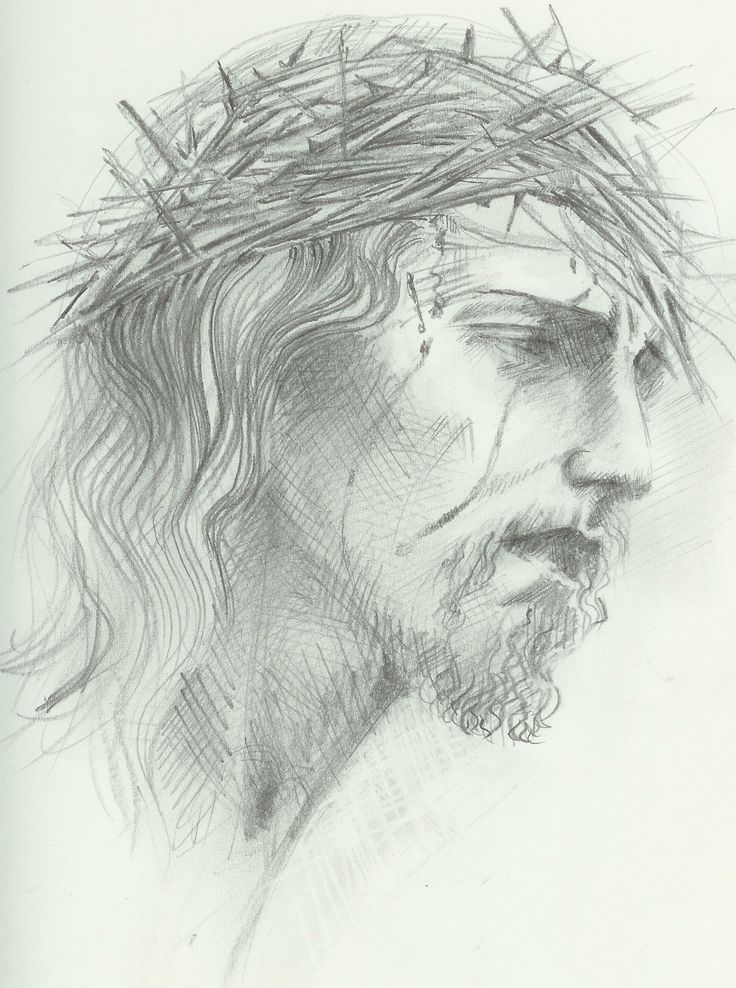 jesus drawing pencil crown thorns drawings christ face easy draw simple amazing spiritual religious bible maryi przyjaciele things paulos paintingvalley
