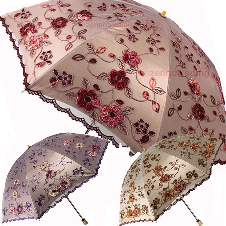 Vintage Elegant Embroidery folding Umbrellas Anti-UV Parasol Rain Sun protection #YLParasol #foldingParasolUmbrella