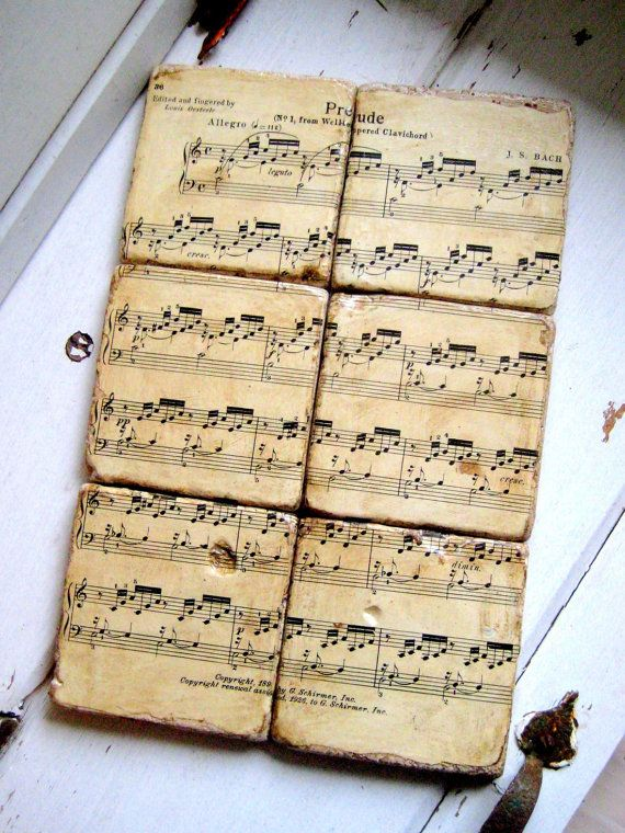 Classical Music Coasters from re purposed tiles by jensdreamdecor, $49.50