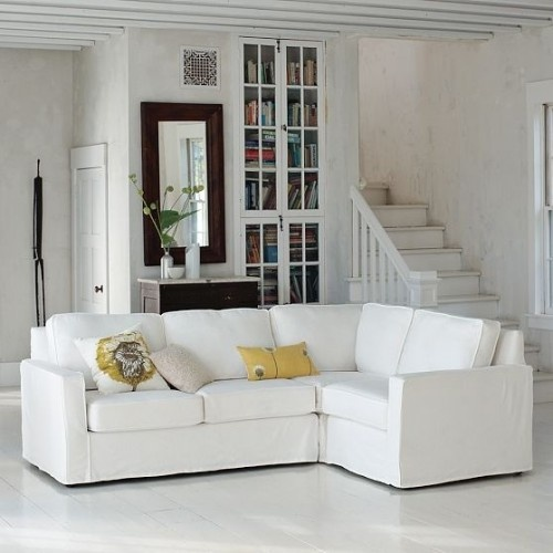 nice subtle splash of color!Modern Furniture, Built In Cabinets, Living Rooms, Henry Slipcovers, Comfy Couch, Families Room, White Couch, West Elm, Sectional Sofas