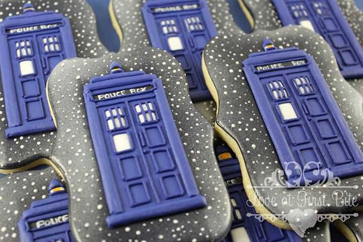 Doctor Who TARDIS cookies by Love at First Bite