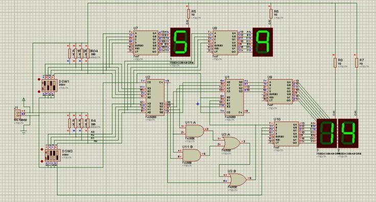 Http://k18.kn3.net/taringa/6/0/5/2/9/6/8/pauly94/8E3.gif?682. El siguiente circuito esta diseñado para sumar y restar dos números en BCD(4bits - del 0 al 9), cuyo resultado se visualizará en dos displays de 7 segmentos, cuyo resultado esta...