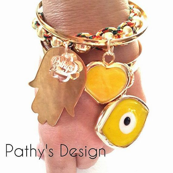 Bangle bracelets all gold plated with Hamsa hand by PathysDesign