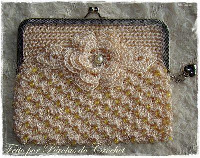 * Pérolas do Crochet: Carteira em croche com fecho da vovó