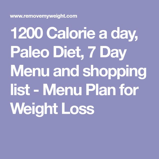 1200 Calorie a day, Paleo Diet, 7 Day Menu and shopping list - Menu Plan for Weight Loss