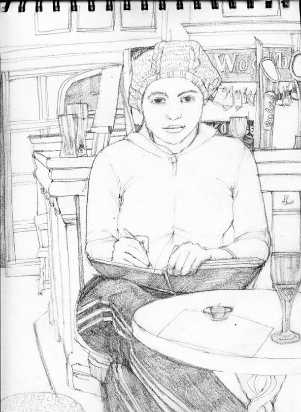 Drawing in the pub by Helen Cann.