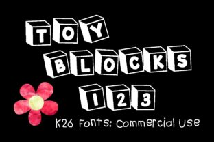 http://K26 Toy Blocks 123 is a fun playful font that is great for creating kids themed designs. Each letter is drawn inside a box and when typing the blocks are playfully tilted.