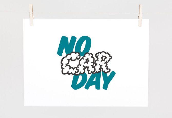 Conceptual logo design for NO CAR DAY Awareness campaign.