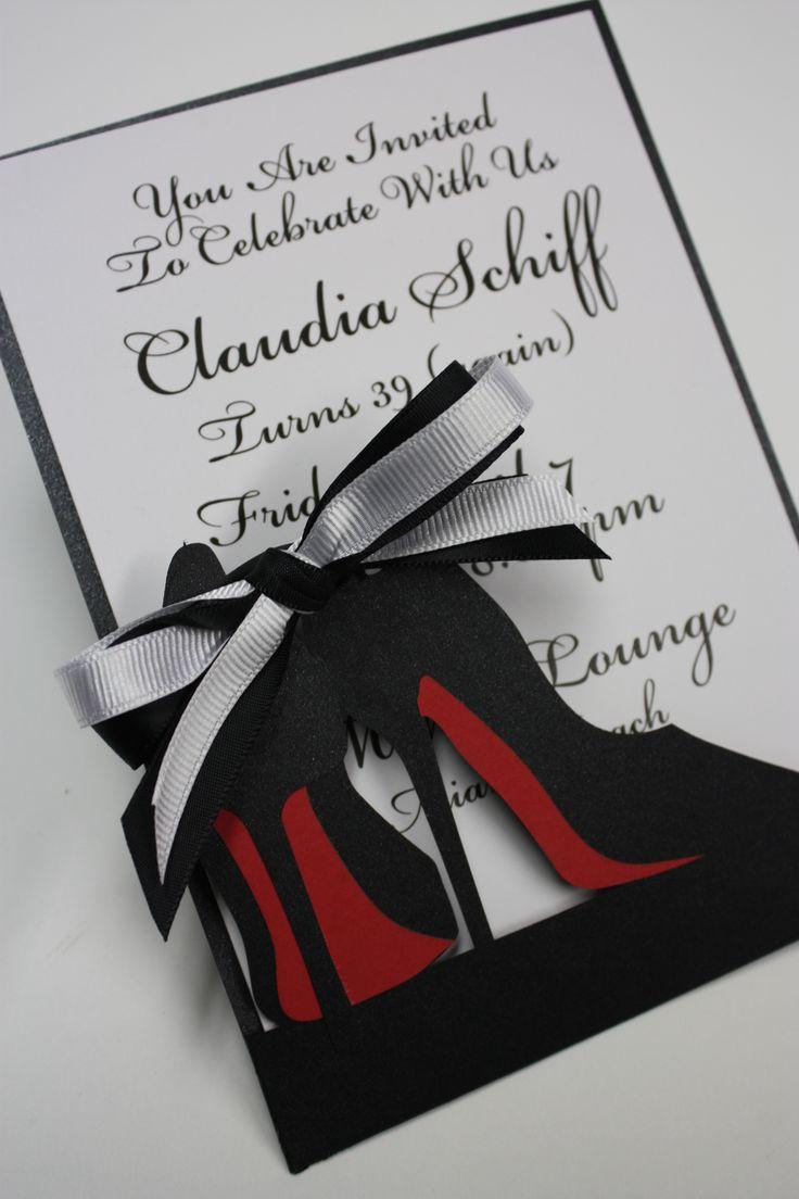 High Heel Fashionista laser cut invitation  www.katblustudio.etsy.com