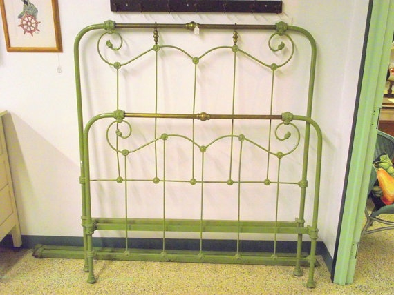 Antique Victorian Iron And Brass Bed And Rails Headboard
