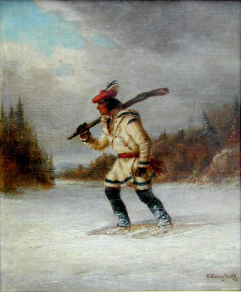'Hunter' by Cornelius Krieghoff, oil, circa 1855  at Mayberry Fine Art