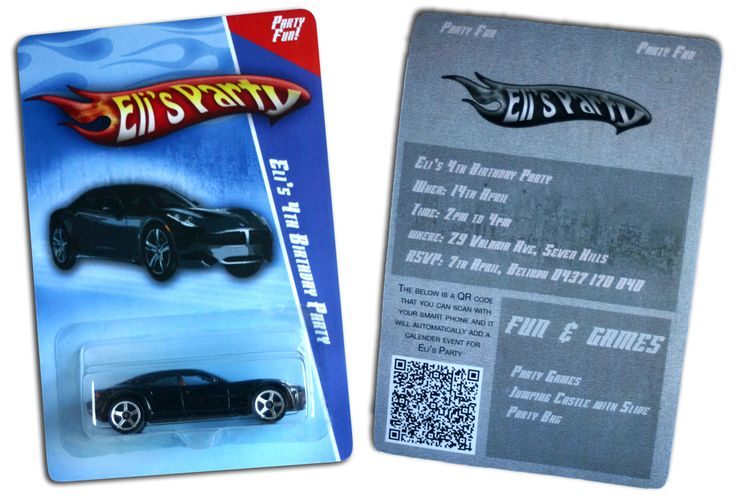 recreation of Hot Wheels for a birthday invite