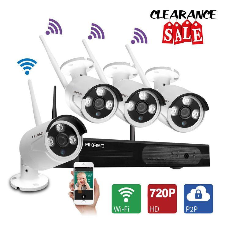 AKASO Wifi/Wireless Security Camera System Video Surveillance CCTV NVR Kits, 4CH 720P(1280 x 720), Auto-Pairing, Plug&Play, 65ft Night Vision, P2P, IP66 Outdoor IP Camera NO HDD (WS1M-401)