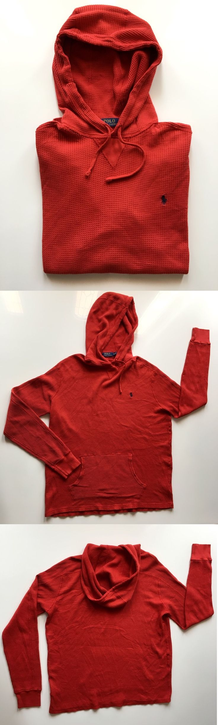 Sweats and Hoodies 155183: Men S Polo Ralph Lauren Waffle Cotton Hoodie Bistro Red, Size: Xl -> BUY IT NOW ONLY: $34.5 on eBay!