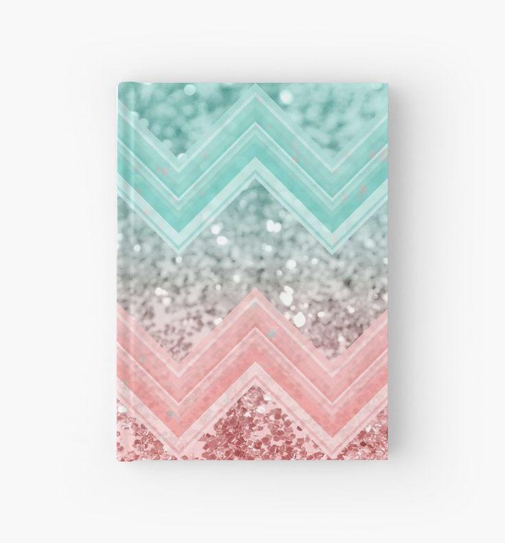 """Summer Vibes Glitter Chevron #1 #coral #mint #shiny #decor #art "" Hardcover Journals by anitabellajantz   Redbubble"