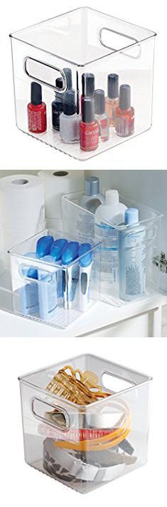 Transparent Storage Bins. InterDesign Linus Bathroom Vanity Organizer Bin – Cabinet Storage Box for Health and Beauty Products - Cube, Clear. #transparent #storage #bins #transparentstorage #storagebins