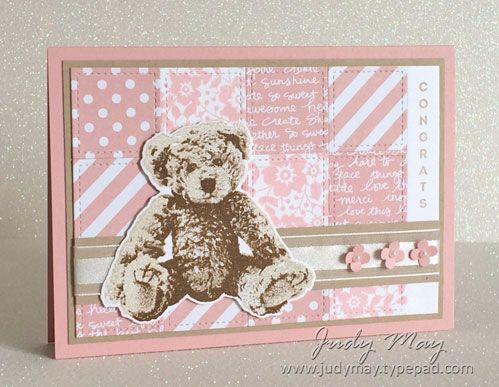 Baby Bear, Vertical Greetings, Bloomin' Love, Made with Love,  Blushing Bride DSP, White Organza ribbon, Pearls, Stitched Shape Framelits, Baby Bear die (not SU), Itty Bitty Shapes Punch Pack (retired) - colors used for Bear: Doft Duede, Crumb Cake & Sahara Sand (exterior)