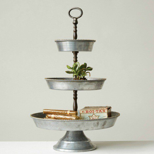 Galvanized Tiered Tray Stand