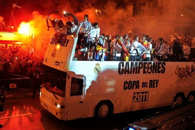 When the bus ran over the trophy in Madrid. It was handed back to the bus driver.
