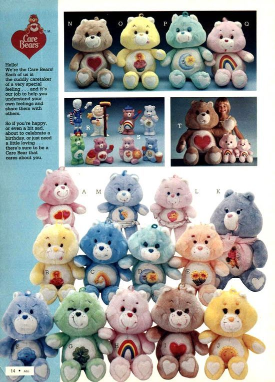 Care Bears from a 1984 catalog. #1980s #toys   http://amazingelectronictoysmargarette.blogspot.com