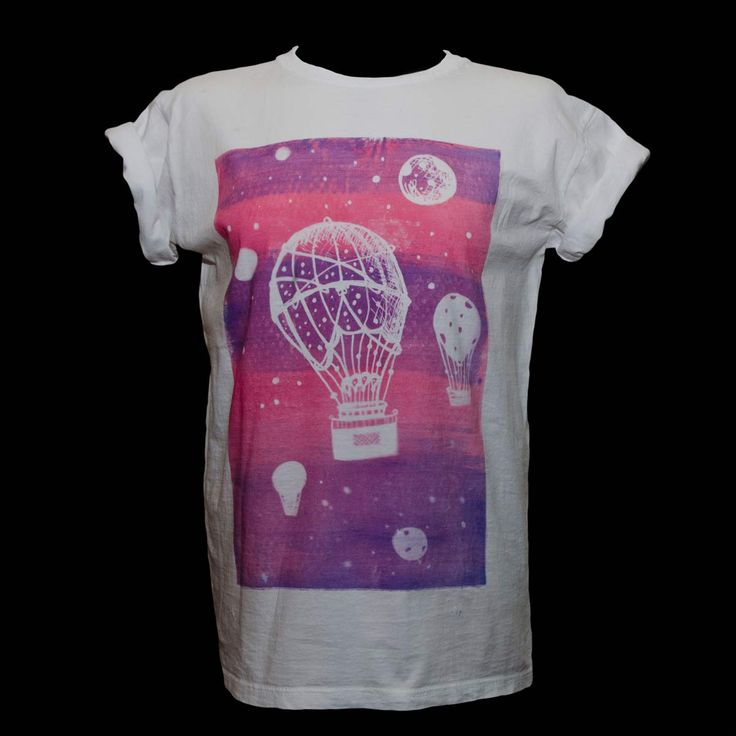 """Hot Air Balloon"" T-shirt designed by DeLuca Designs. T-shirts are hand dyed with a natural light reactive dye and unique to every customer due to the bespoke nature of the dying process. Available to purchase at www.luciadeluca.com"