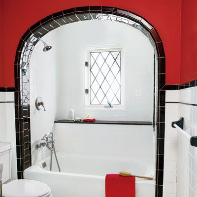 a 1930s shared bath gets a revamp. Black Bedroom Furniture Sets. Home Design Ideas