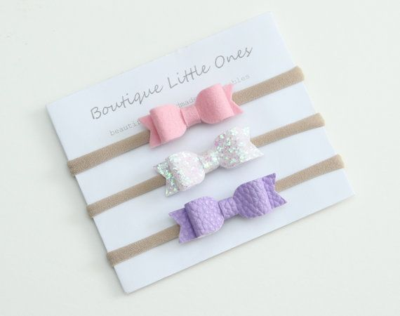 Pink Fairy Dust Purple Bow Baby Headband Set by BoutiqueLittleOnes