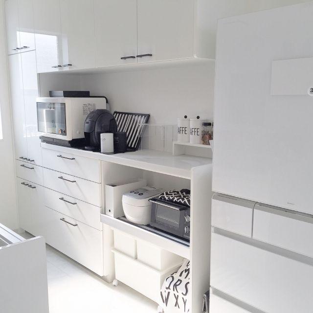 yumekana77さんの、IKEA,無印良品,雑貨,ニトリ,100均,シンプル 白,White×gray,シンプルモダン,モノトーン,シンプル,パナソニックキッチン,デザインレターズ,ラガハウス,パナソニック冷蔵庫,キッチン,のお部屋写真