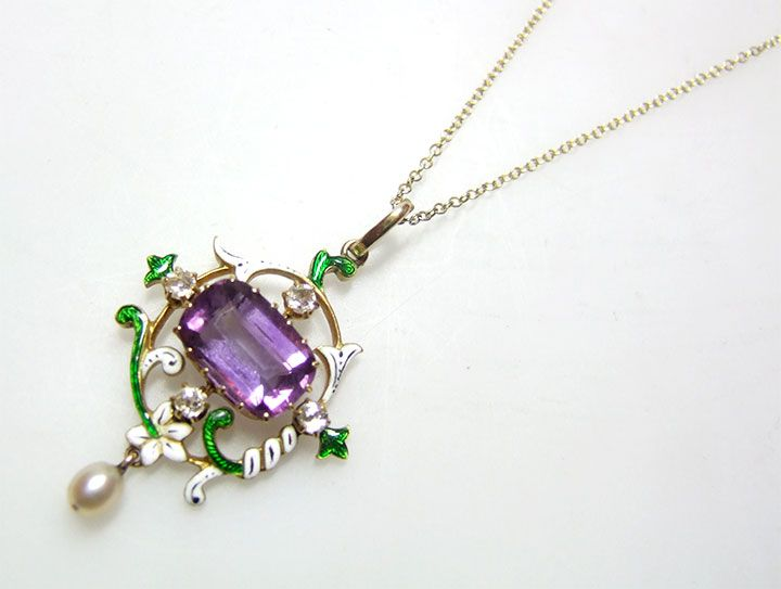 108 best antique suffragette jewellery images on pinterest vintage pendant amethyst diamond and natural pearl c1890 1910 aloadofball Image collections