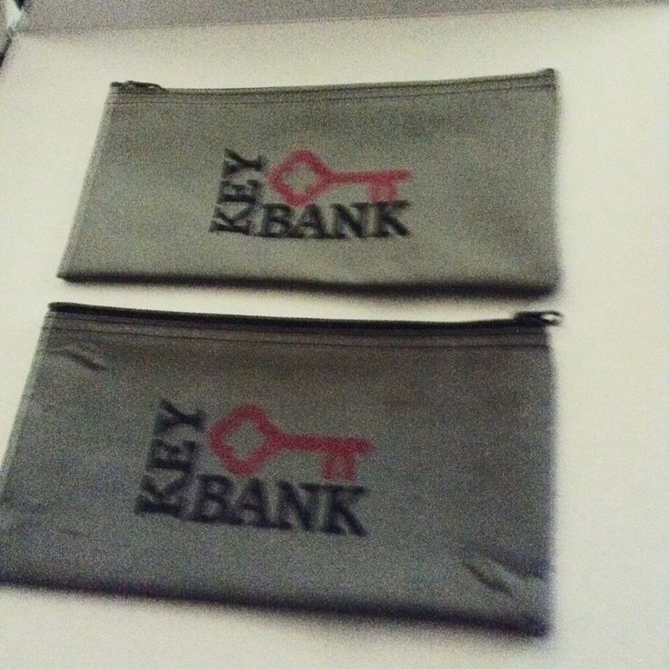 KEY BANK GRAY ZIPPERED BANK DEPOSIT BAGS (2)