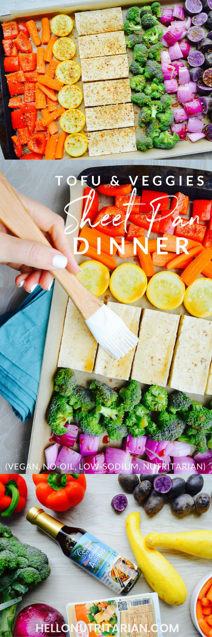 Super-easy and tasty Oil-Free Tofu & Veggies Rainbow Sheet Pan Meal! This recipe is vegan, nutritarian, whole food plant based, low-sodium and perfect if you're looking to start batch prepping your meals for the week! One sheet serves two people! xo, Kristen #sheetpandinner #veganrecipe #vegandinner