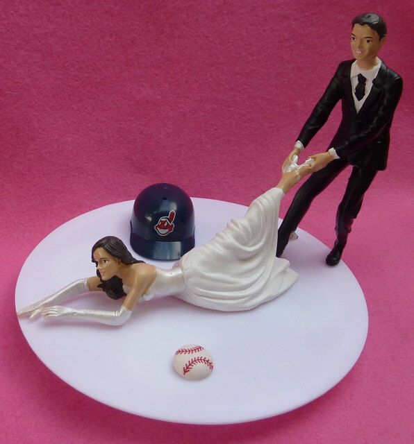 Wedding Cake Topper Cleveland Indians Tribe G Baseball Themed w/ Bridal Garter Humorous Bride Groom Sports Fans Funny Helmet Ball Fun Top by WedSet on Etsy https://www.etsy.com/listing/118825048/wedding-cake-topper-cleveland-indians