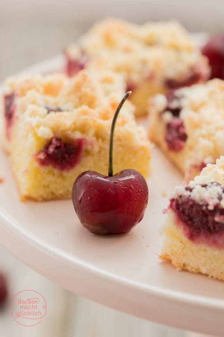 Streusel-Kirsch-Kuchen vom Blech: Köstlicher Kirschkuchen für alle, die mürbe Streusel lieben
