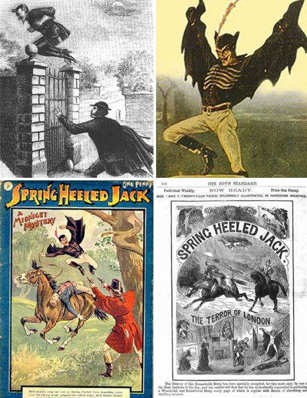 Spring Heeled Jack...tall and thin, with fiery red eyes, a black cloak and demonic appearance, Spring Heeled Jack was first reported in 1837 and sightings soon occured all over England, from London to Sheffield and Liverpool, and later Scotland.  Known for his ability to make incredible leaps and evade capture, the frightful entity soon became the subject of contemporary fiction and, with his nature and identity never revealed, has become a well-known urban legend.
