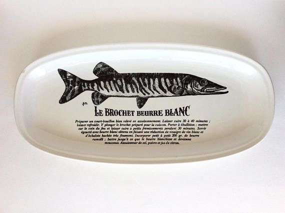 Fish platter. French fish platter. Gien. Gien plate. White